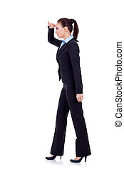 business woman looking forward - full body picture of a...