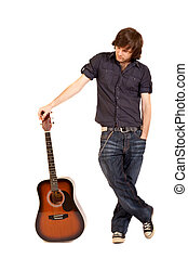 guitarist with acoustic guitar - picture of a guitarist with...