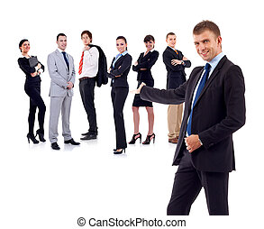 businessman presenting his team isolated over a white...