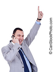 business man with cellular phone winning - happy business...