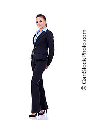 happy business woman - Young happy business woman isolated...