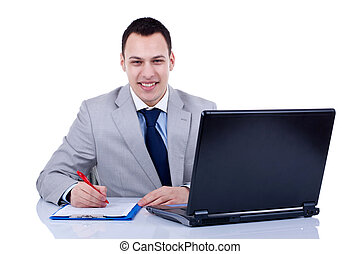 Business man writing note