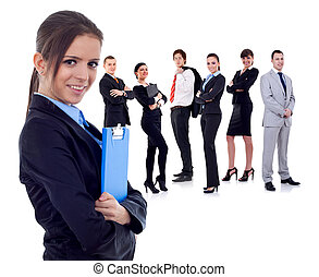 business team with a businesswoman holding a clipboard