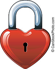 Heart lock over white EPS 8, AI, JPEG