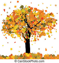 Beautiful autumn tree for your design. EPS 8 vector file...