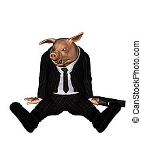 Angry Pig dressed as Business Man 3 - Angry pig dressed as a...