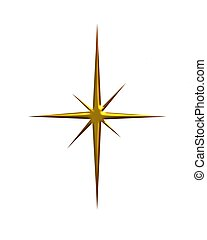 Shining Gold Star - Shining metallic gold star on white...