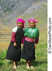 White Hmong Girls - Girls in mountain to gather herbs. From...
