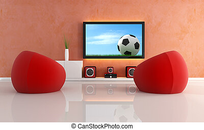 waiting for soccer game in a modern living room - red...