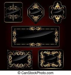 Set of Golden Frame - illustration of set of golden frame on...