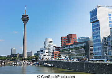Rheinturm tower Dusseldorf - Media Port Medienhafen and...