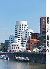 Media Port (Medienhafen) in Dusseldorf - Modern Buildings in...
