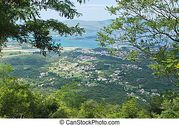 Tivat Bay and town from Vrmac mountain top Montenegro