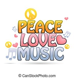 peace love music - illustration of peace love music on white...