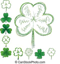 Set of clovers for St Patrick`s day, vector illustration