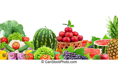 Fresh fruits and vegetables - Colorful healthy fresh fruits...