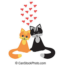 two cats in love on white background