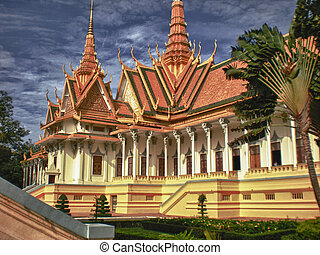 Temple near Phnom Penh, Cambodia - Architectural Detail of a...