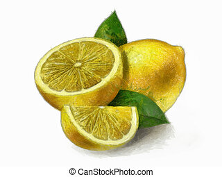 Lemon - Lemons with leaves - Painting of a lemon yellow...
