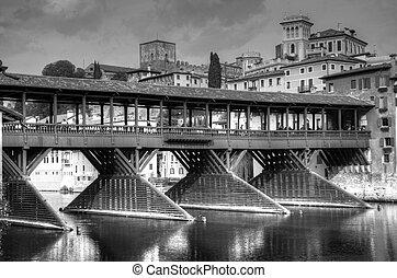 Old bridge of Bassano del Grappa in black and white