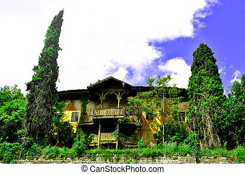 old palace of wood and style idiano surrounded by vegetation...