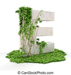 Ivy letter E isolated on white background.