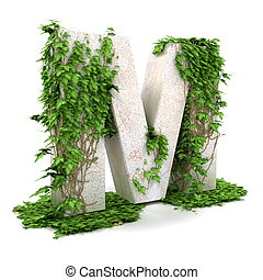 Ivy letter M isolated on white background.