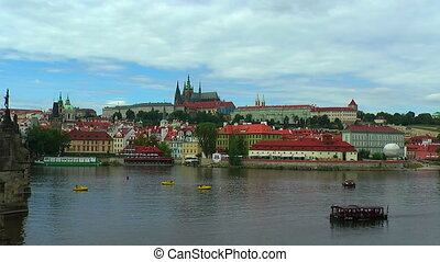 The Old Town in Prague - Zoom panorama of the Old Town in...