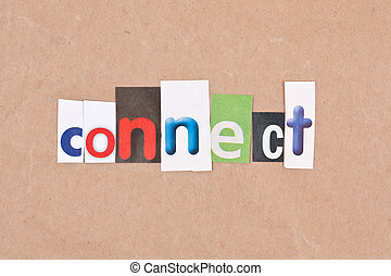 connect - Connect, letters sorted on paper background
