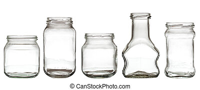Collection of glass bottle - Collection of empty transparent...