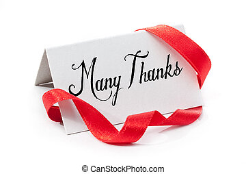 Many thanks, handwritten label, isolated in white