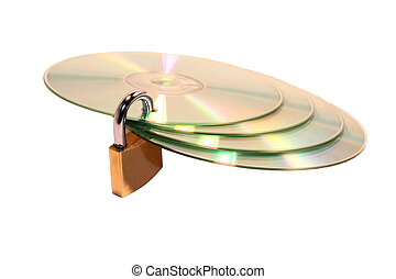 Data protect - Locked cd isolated on a white background