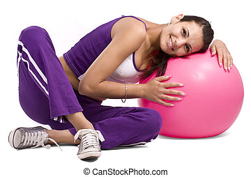 Woman with fitness ball, isolated in white