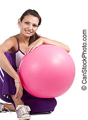 Woman with fitness ball - Woman with fitness ball, isolated...