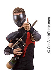 paintball player - Closeup paintball player, isolated in...