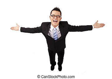 Happy asian businessman and open arms