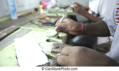 A jewellery workshop in Sri Lanka,  gem industry.