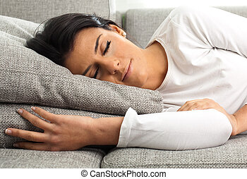 girl sleeping on the sofa, extreme closeup