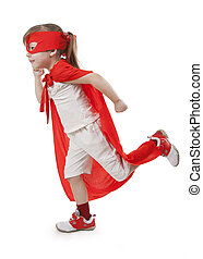 Superhero girl in a red - Superhero little girl in a red...