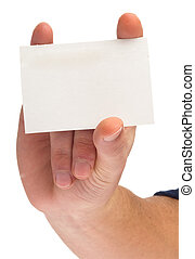 hand holding a card on white background