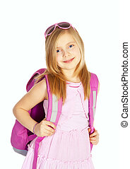 smiling girl with backpack over white