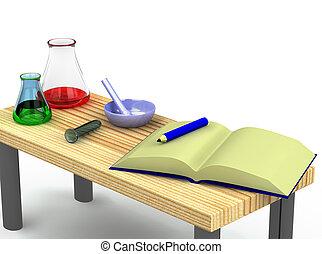 3D, 化学者, テーブル, テスト, チューブ