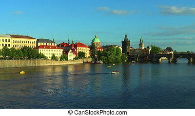 Vltava river in Prague - Vltava river and Charles Bridge in...