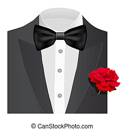 Bow tie with rose - Bow tie with red rose, illustration