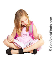 small girl with backpack doing homework over white