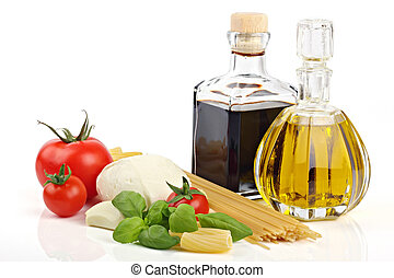 Italian food 1 - Italian food ingredients on a white...