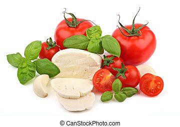 Italian food 3 - Italian food ingredients on a white...