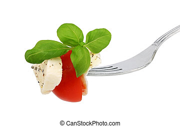 Italian food 5 - Italian salad on a fork on white background