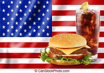 hamburger and cola with usa flag. - cheeseburger and soda in...