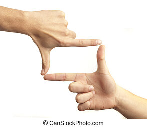 hand symbol that means frame on white background